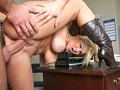 Abbey Brooks fucks Mr Dera on his big leather chair