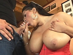 She robbed her enormous titts in his dick